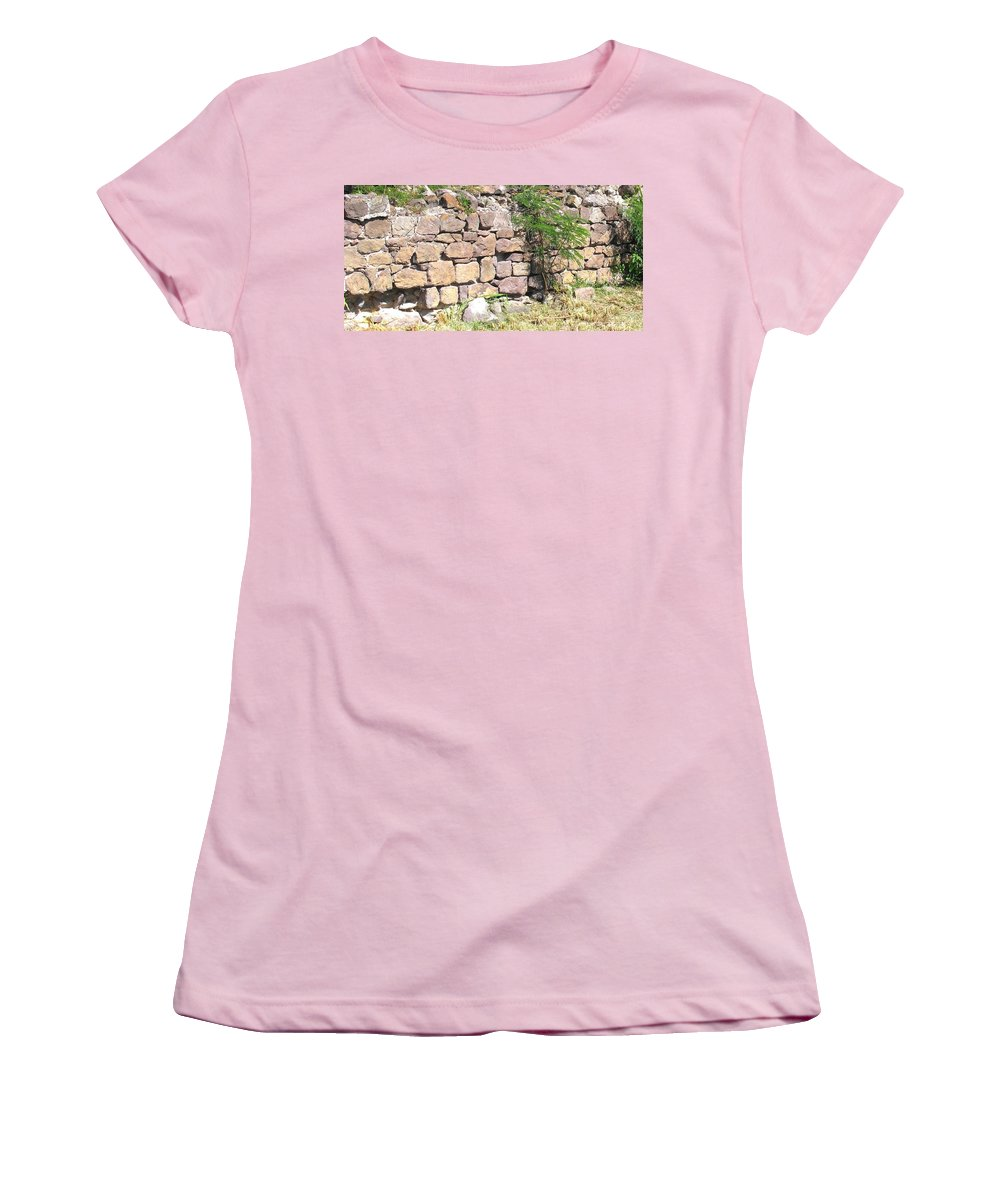 Stone Wall Women's T-Shirt (Athletic Fit) featuring the photograph Stone Wall by Ian MacDonald