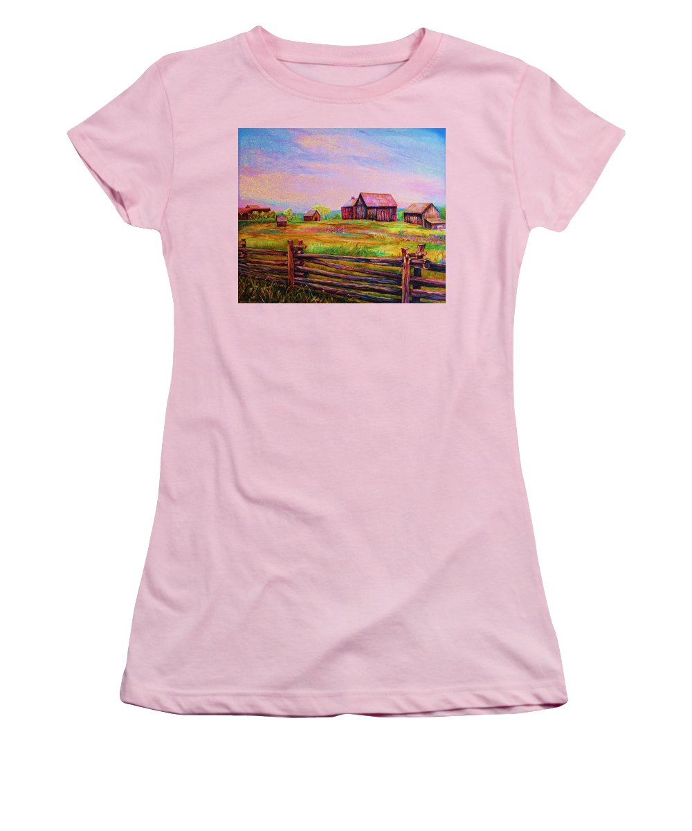 Ranches Women's T-Shirt (Athletic Fit) featuring the painting The Log Fence by Carole Spandau