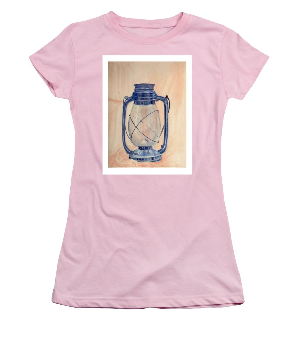 Lantern Women's T-Shirt (Athletic Fit) featuring the painting The Old Lantern by Asha Sudhaker Shenoy