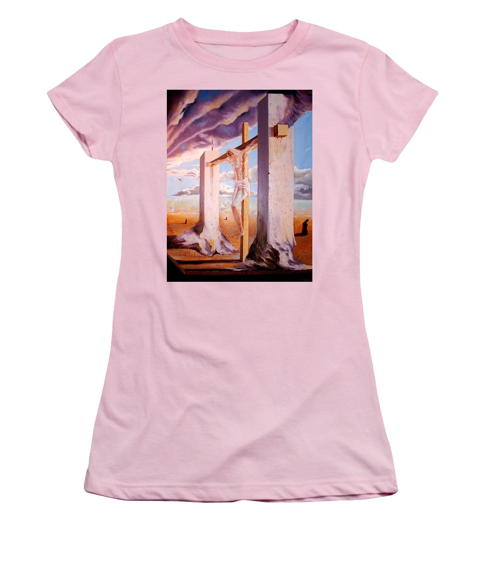 911 Women's T-Shirt (Athletic Fit) featuring the painting The Pain Holder by Darwin Leon