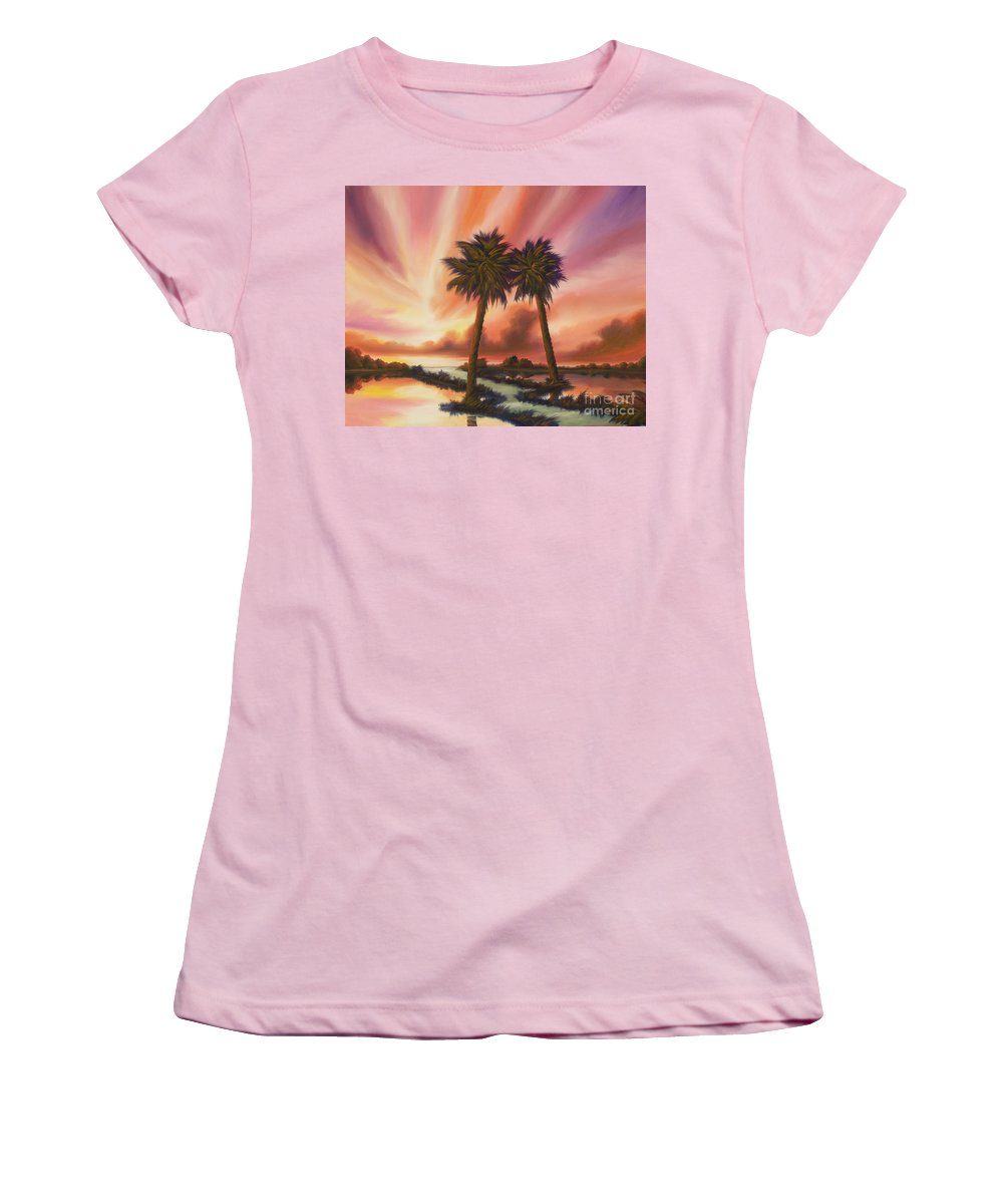Skyscape Women's T-Shirt (Athletic Fit) featuring the painting The Path Ahead by James Christopher Hill