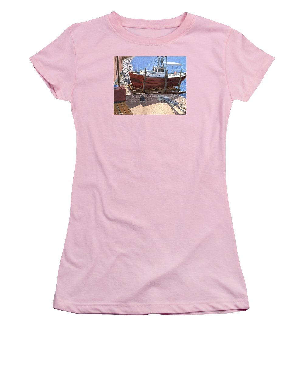 Fishing Boat Women's T-Shirt (Athletic Fit) featuring the painting The Red Troller by Gary Giacomelli