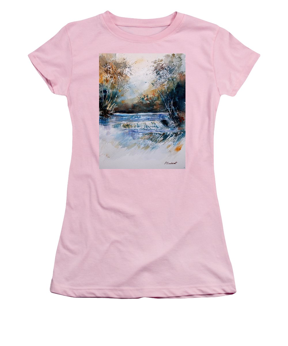 Water Women's T-Shirt (Athletic Fit) featuring the painting Watercolor 902021 by Pol Ledent
