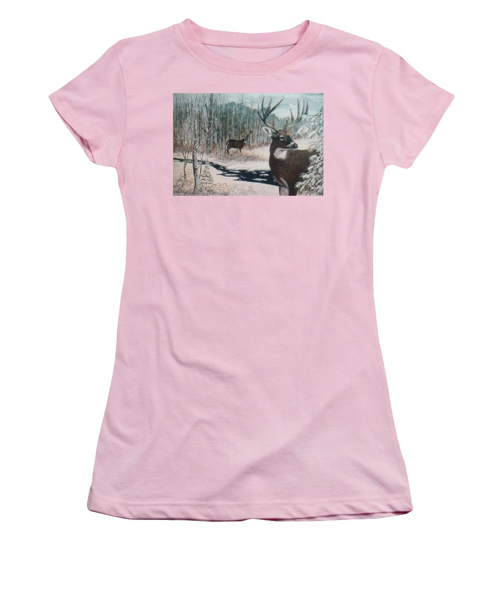 Deer; Snow; Creek Women's T-Shirt (Athletic Fit) featuring the painting Whitetail Deer by Ben Kiger
