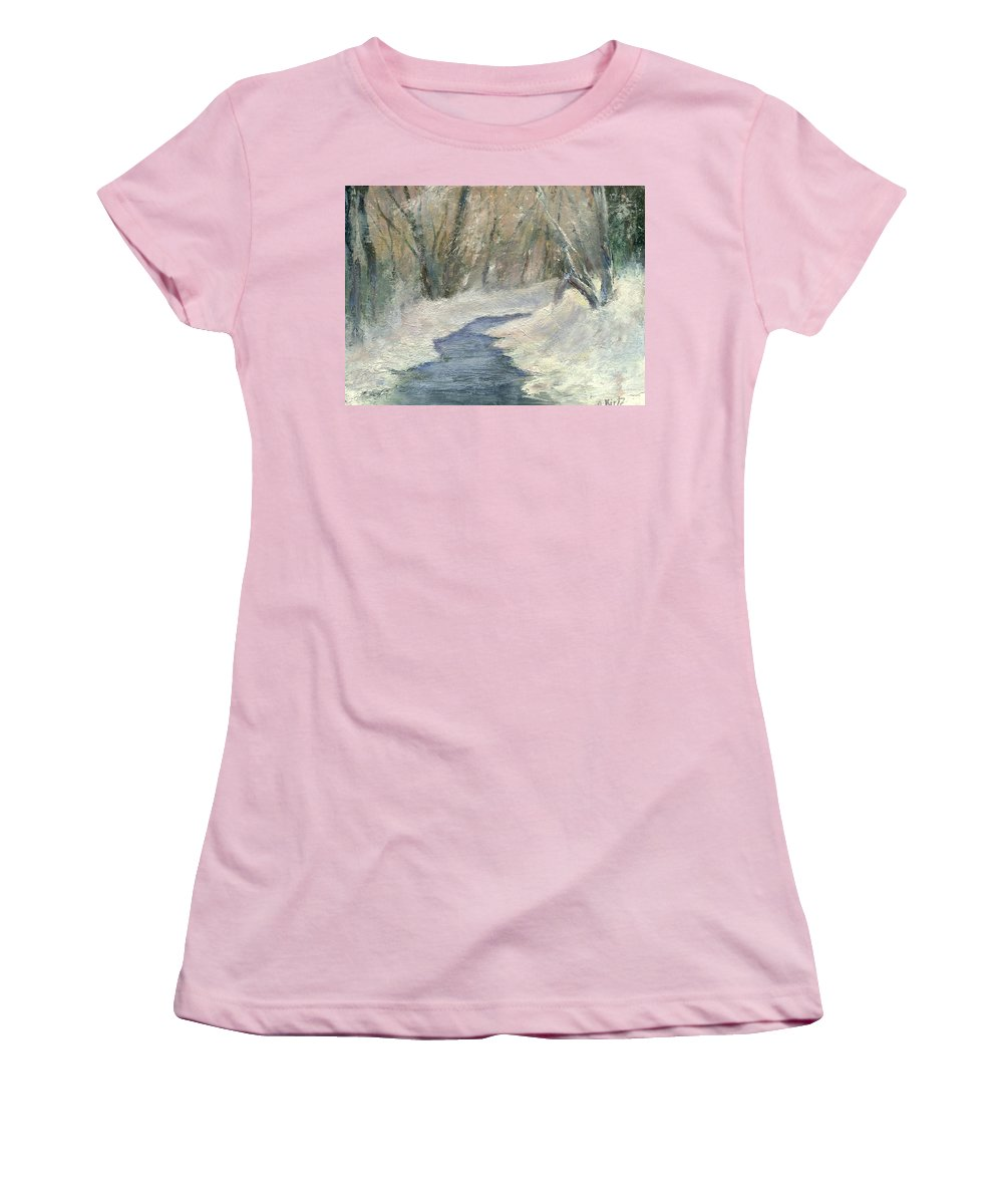 Snow Women's T-Shirt (Athletic Fit) featuring the painting Winter On Stormcreek by Gail Kirtz