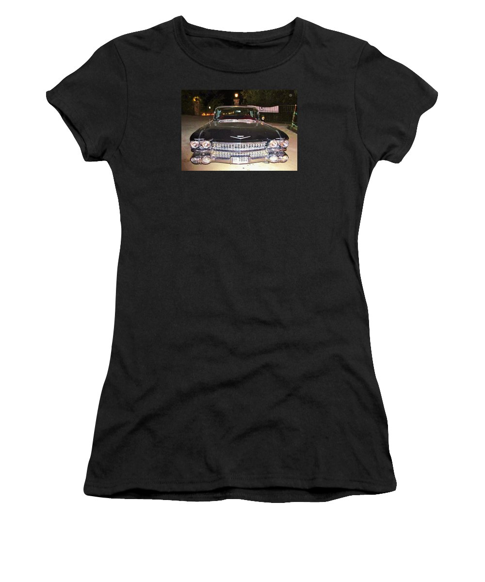 Black Vintage Cars Women's T-Shirt (Athletic Fit) featuring the photograph Black And Chrome Beauty by Donna Wilson