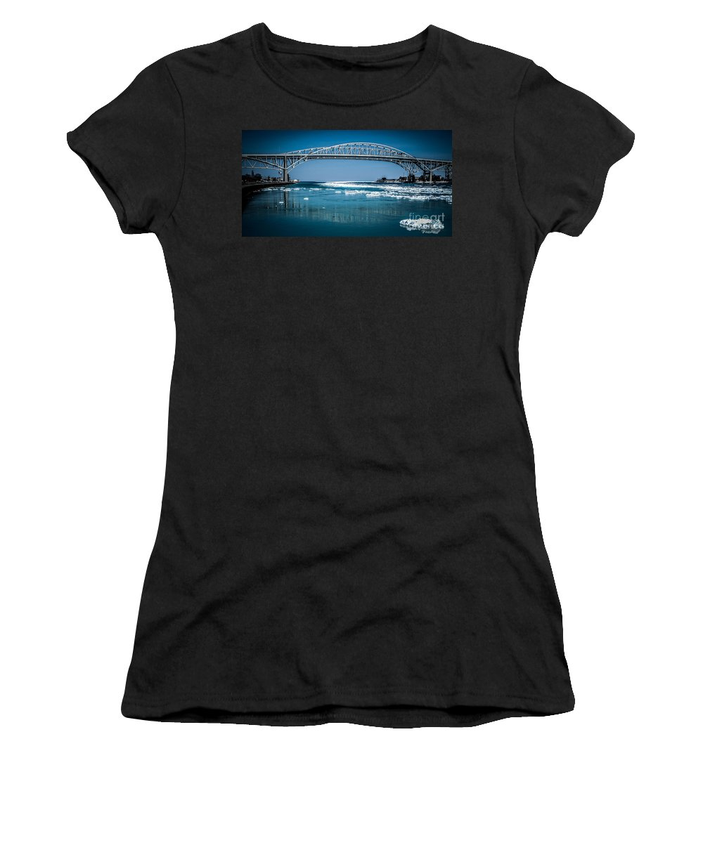 Ice Women's T-Shirt (Athletic Fit) featuring the photograph Blue Water Bridges With Reflection And Ice Flow by Ronald Grogan
