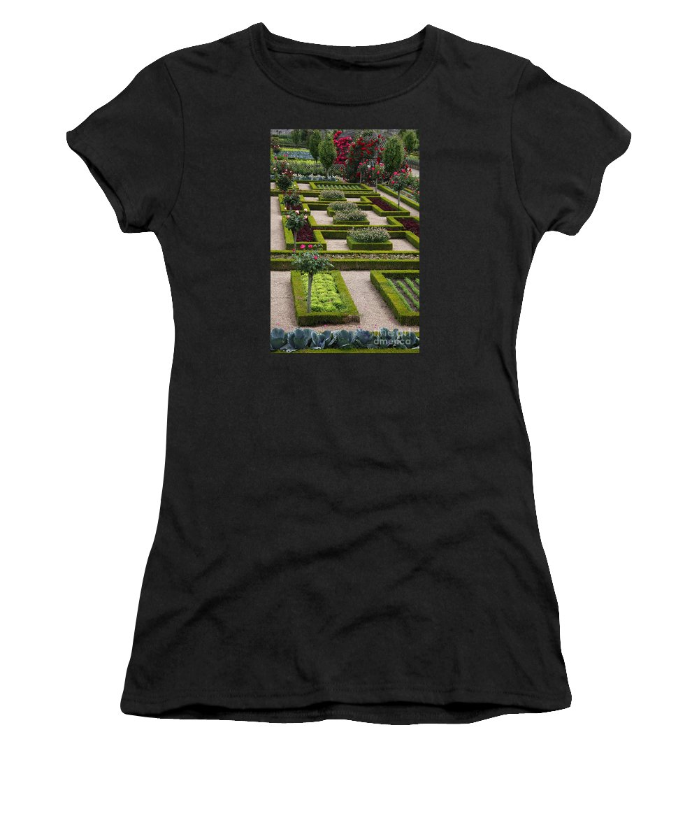Cabbage Women's T-Shirt (Athletic Fit) featuring the photograph Cabbage Garden Chateau Villandry by Christiane Schulze Art And Photography