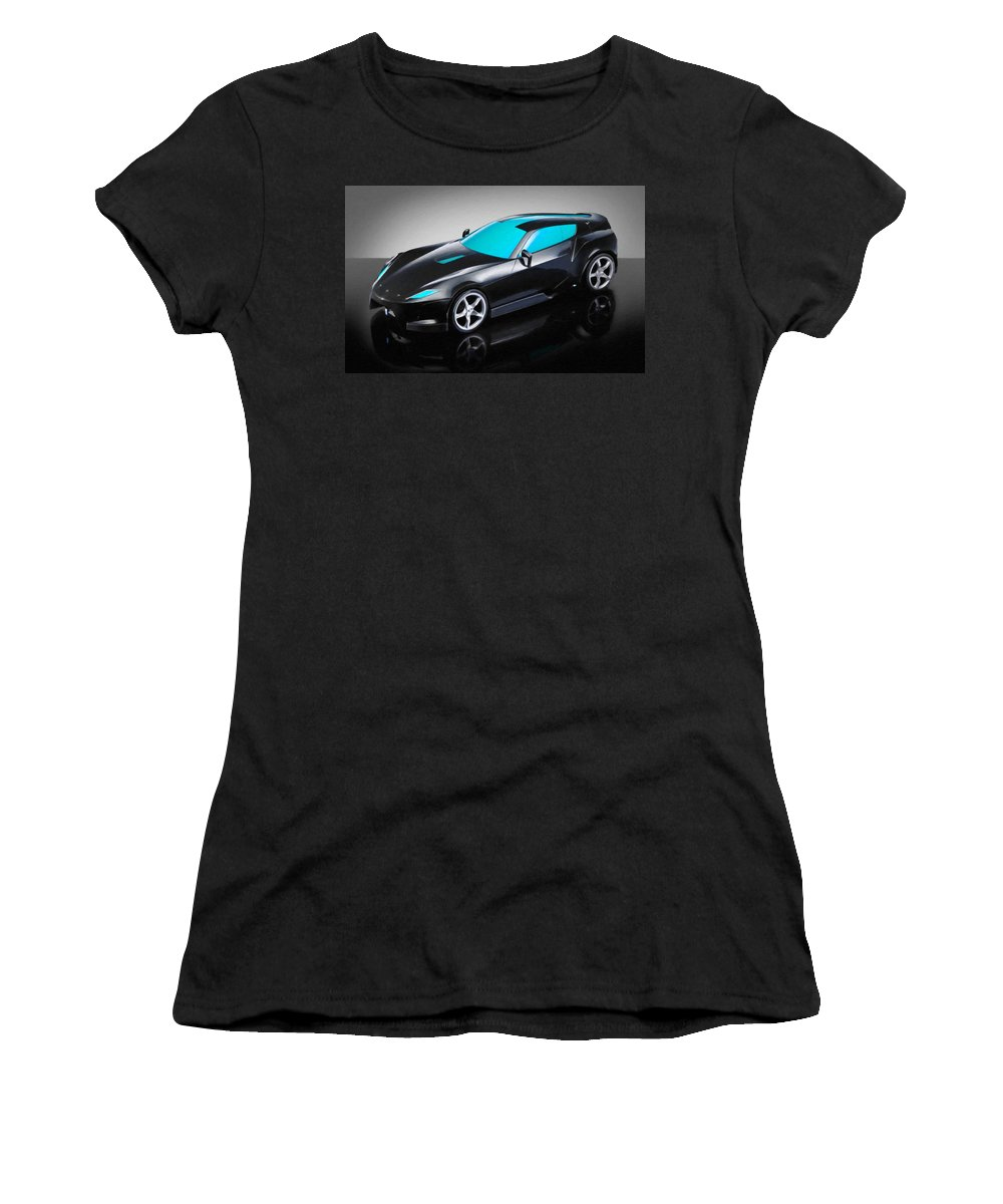 Ferrari Women's T-Shirt (Athletic Fit) featuring the painting Ferrari 15 by Jeelan Clark