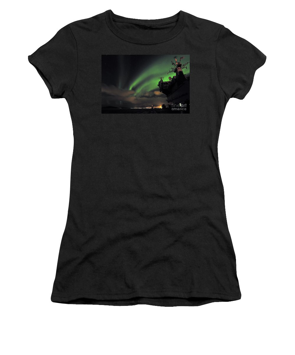 Hms Ocean Women's T-Shirt featuring the photograph Northern Lights by Paul Fearn