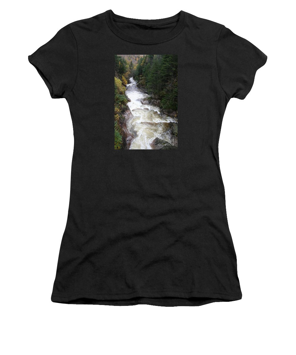 Franconia Notch Women's T-Shirt featuring the photograph Pemigewasset River Franconia Notch by Christiane Schulze Art And Photography