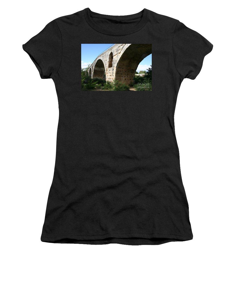 Roman Stonebridge Women's T-Shirt (Athletic Fit) featuring the photograph Roman Bridge Pont St. Julien by Christiane Schulze Art And Photography