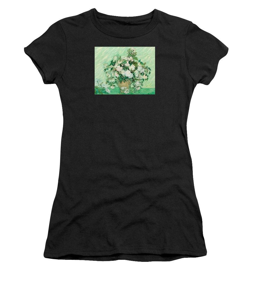 Flowers Women's T-Shirt (Athletic Fit) featuring the painting Roses by Vincent van Gogh