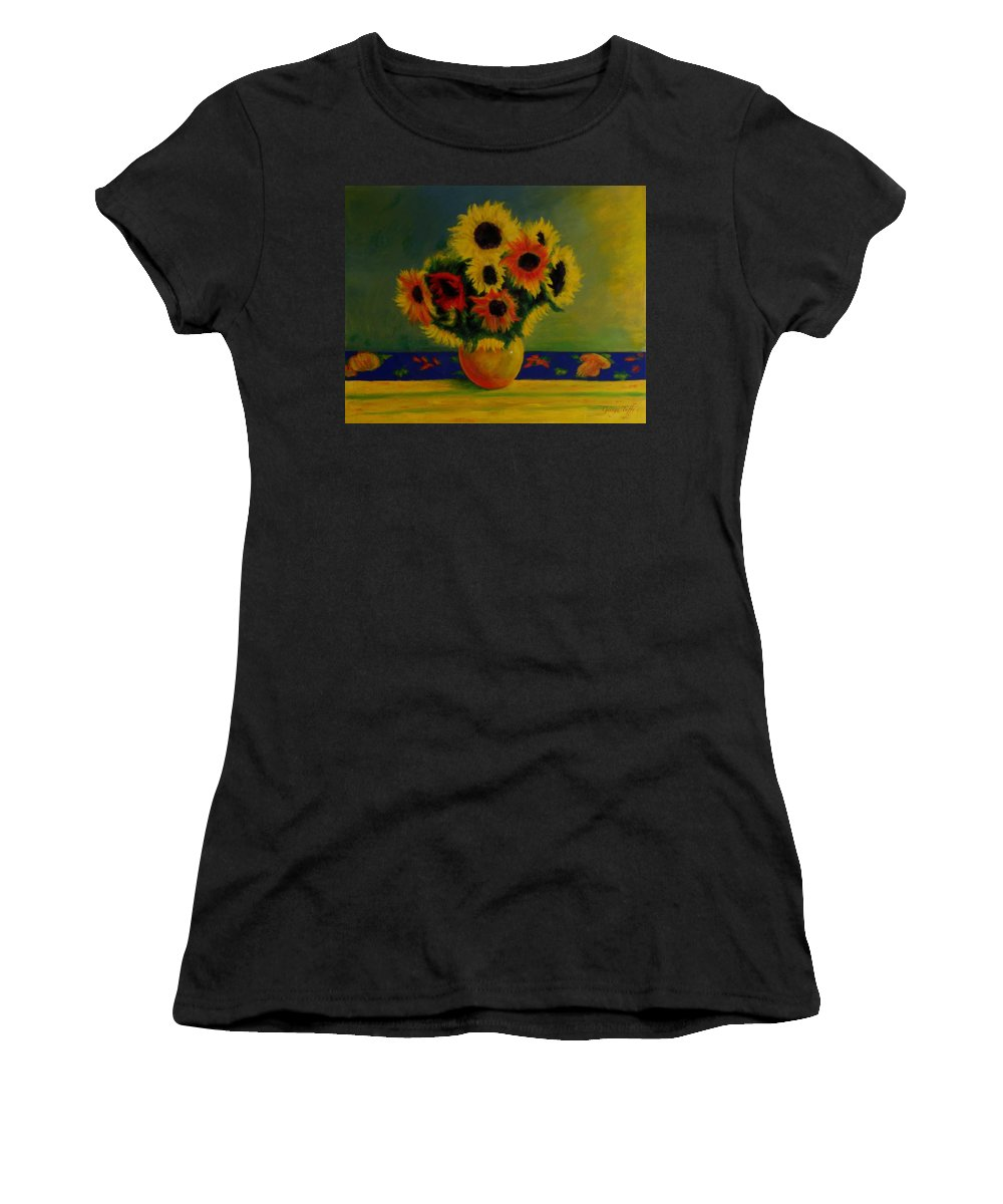 Summer Sunflowers Impressionist Oilpaintings Flowerpaintings Sunflowers Flowers Impressionism Colorful Women's T-Shirt (Athletic Fit) featuring the painting Summer Sunflowers by George Tuffy