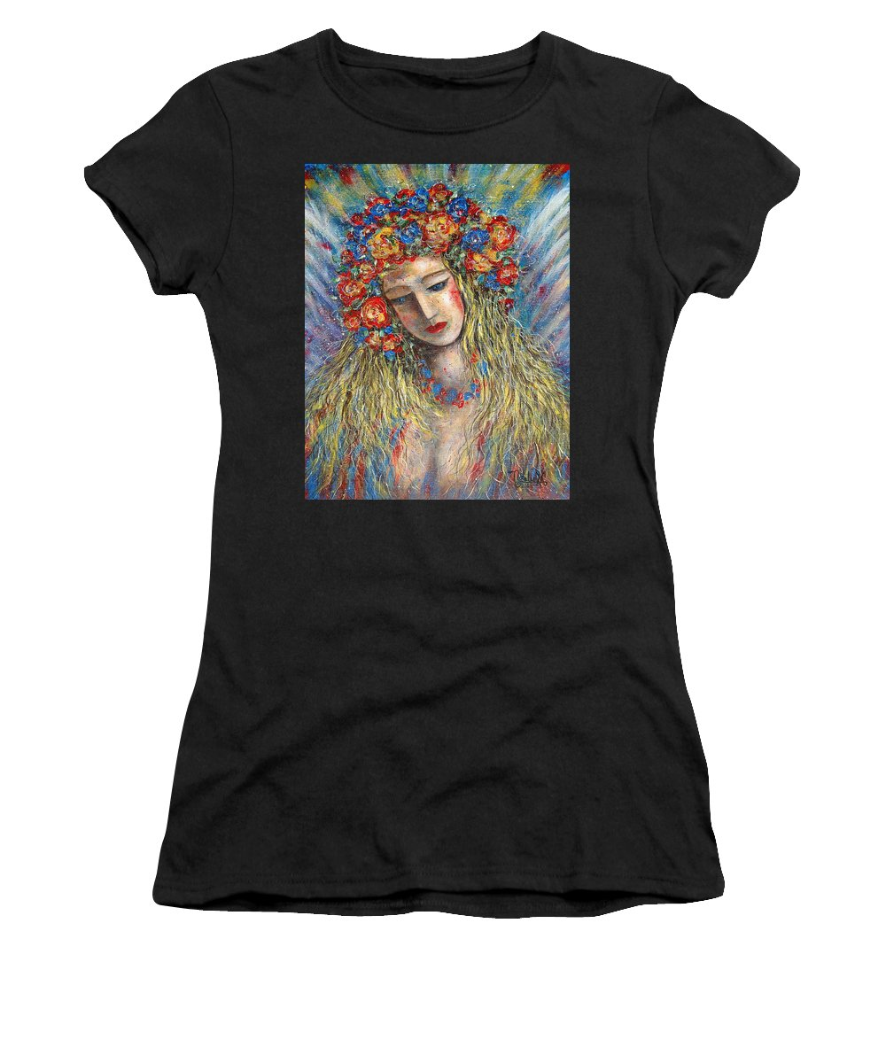 Painting Women's T-Shirt (Athletic Fit) featuring the painting The Loving Angel by Natalie Holland