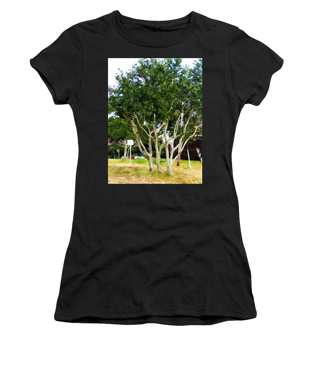 Neighborhood Women's T-Shirt (Athletic Fit) featuring the painting Trees In A Suburban Neighborhood In Summer by Jeelan Clark
