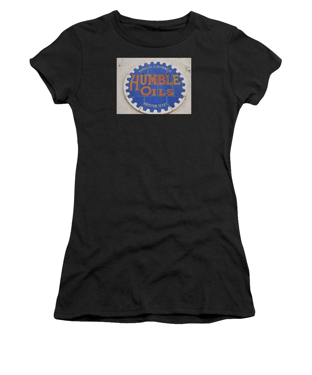 Oil Companies Women's T-Shirt (Athletic Fit) featuring the photograph Vintage Humble Oils Sign Jefferson Texas by Donna Wilson