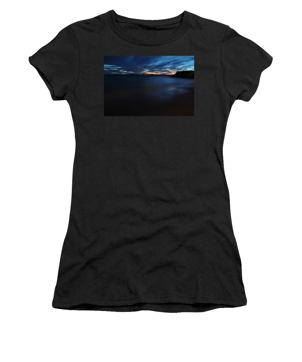 Sunset Women's T-Shirt (Athletic Fit) featuring the photograph 0013 Awe In One Sunset Series At Erie Basin Marina by Michael Frank Jr