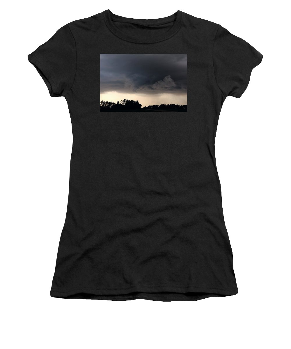 Stormscape Women's T-Shirt (Athletic Fit) featuring the photograph 052913 - Severe Storms Over South Central Nebraska by NebraskaSC