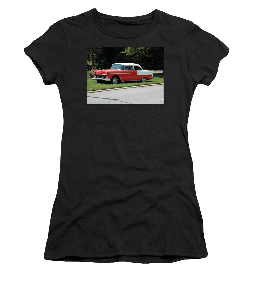 55 Women's T-Shirt (Athletic Fit) featuring the photograph 55 Chevy by Frank Romeo