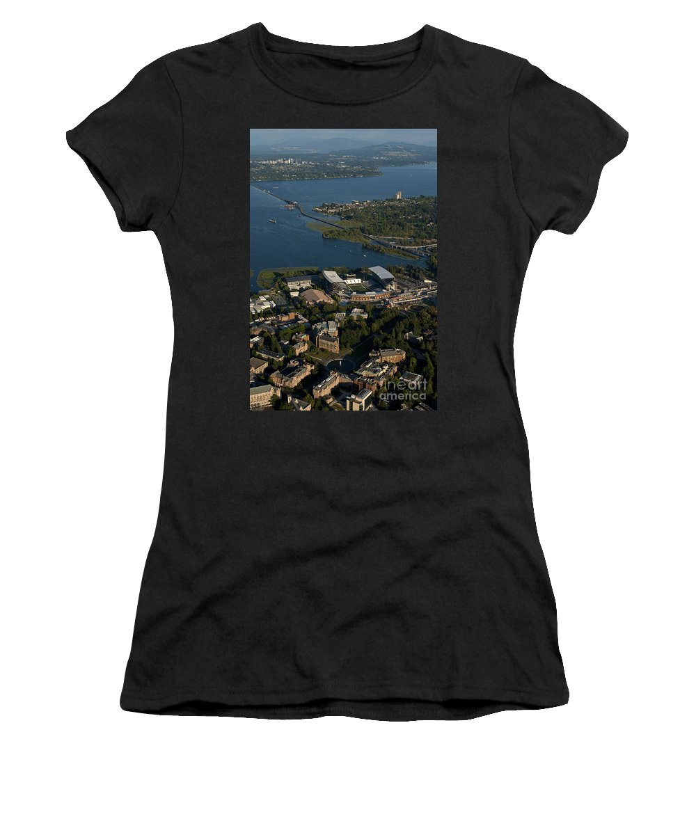 Bellevue Skyline Women's T-Shirt featuring the photograph Aerial View Of The New Husky Stadium by Jim Corwin