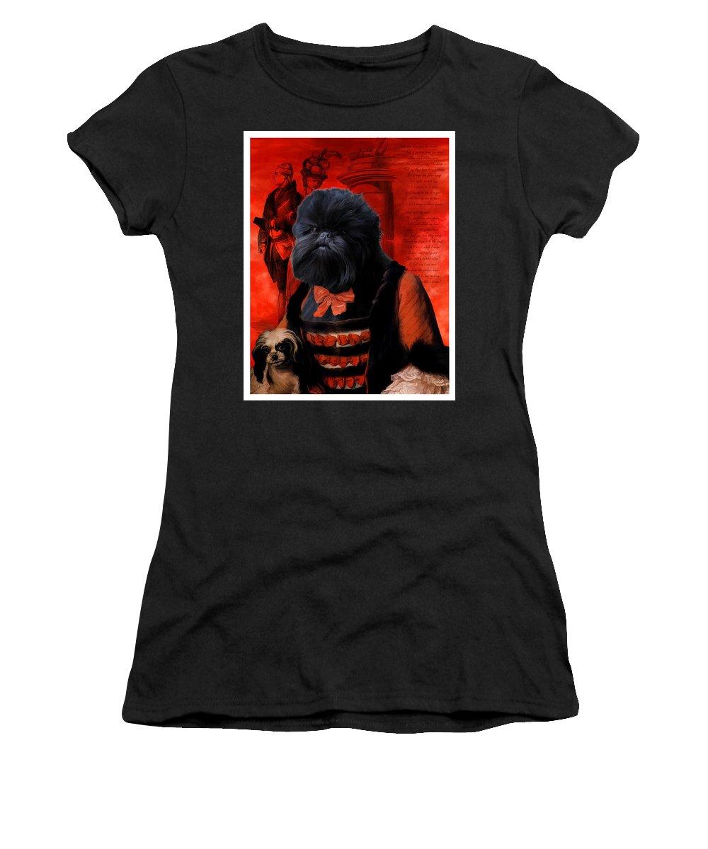 Affenpinscher Art Women's T-Shirt featuring the painting Affenpinscher Art By Nobility Dogs by Sandra Sij