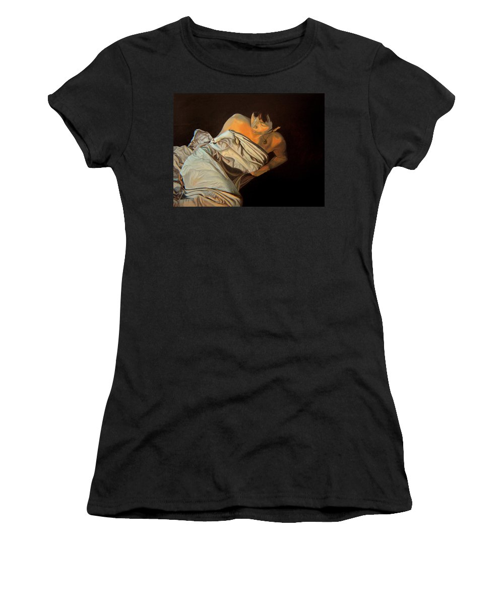 Semi-nude Women's T-Shirt (Athletic Fit) featuring the painting 1 Am by Thu Nguyen