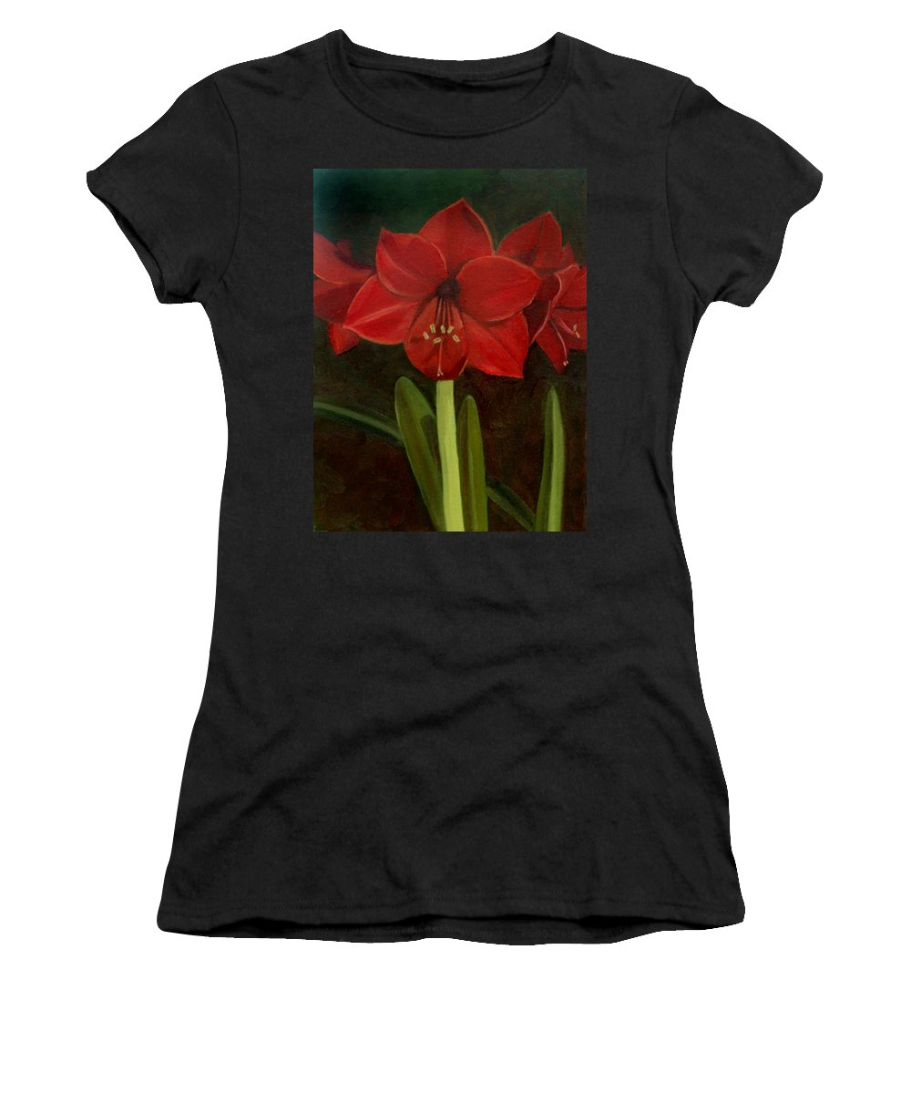 Amaryllis Women's T-Shirt featuring the painting Amaryllis by Nancy Griswold