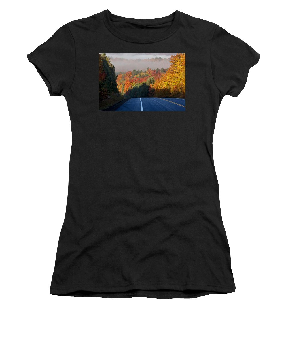 Yellow Women's T-Shirt featuring the photograph Autumn Colors And Road by Mark Duffy