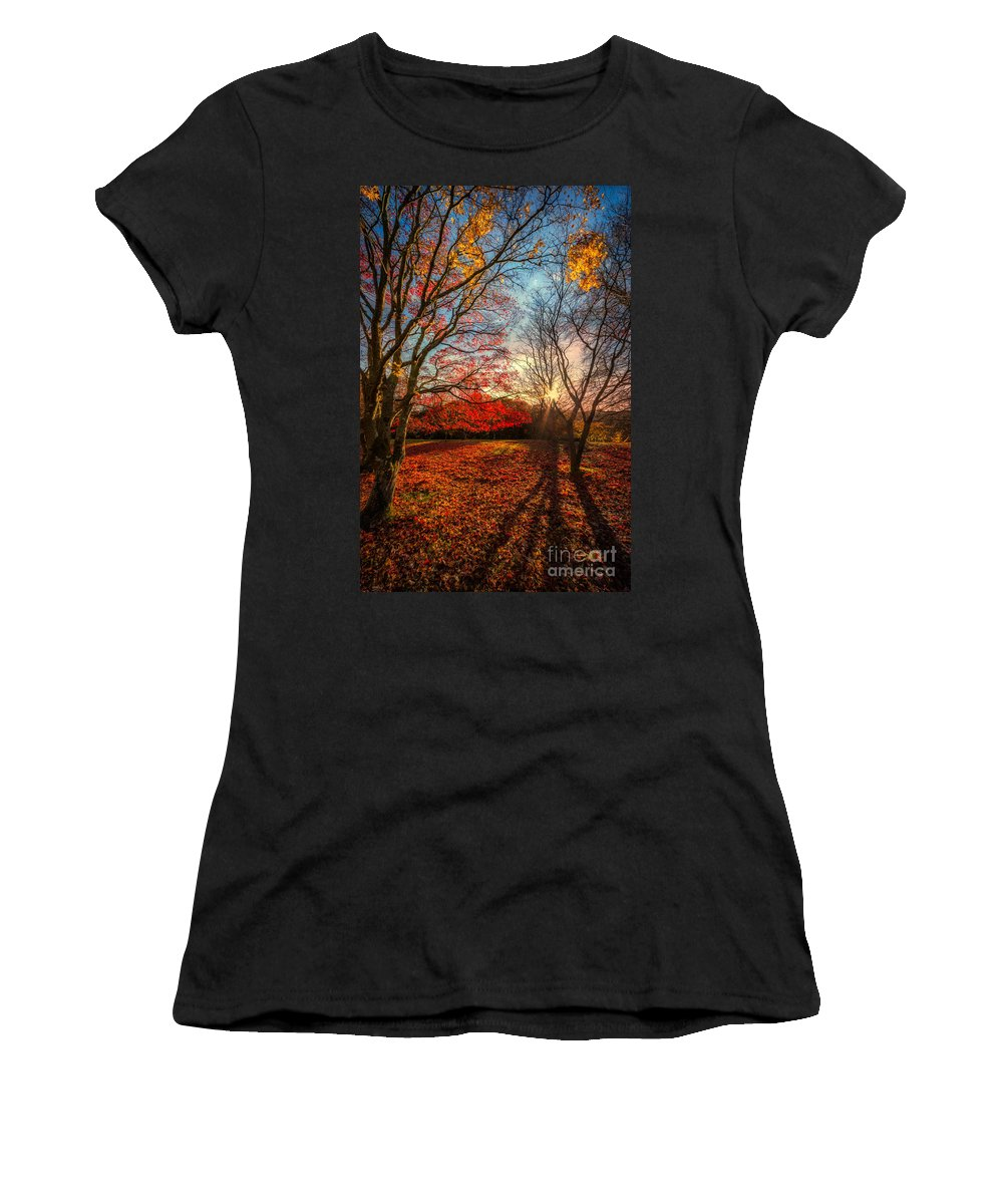 Acer Women's T-Shirt featuring the photograph Autumn Shadows by Adrian Evans