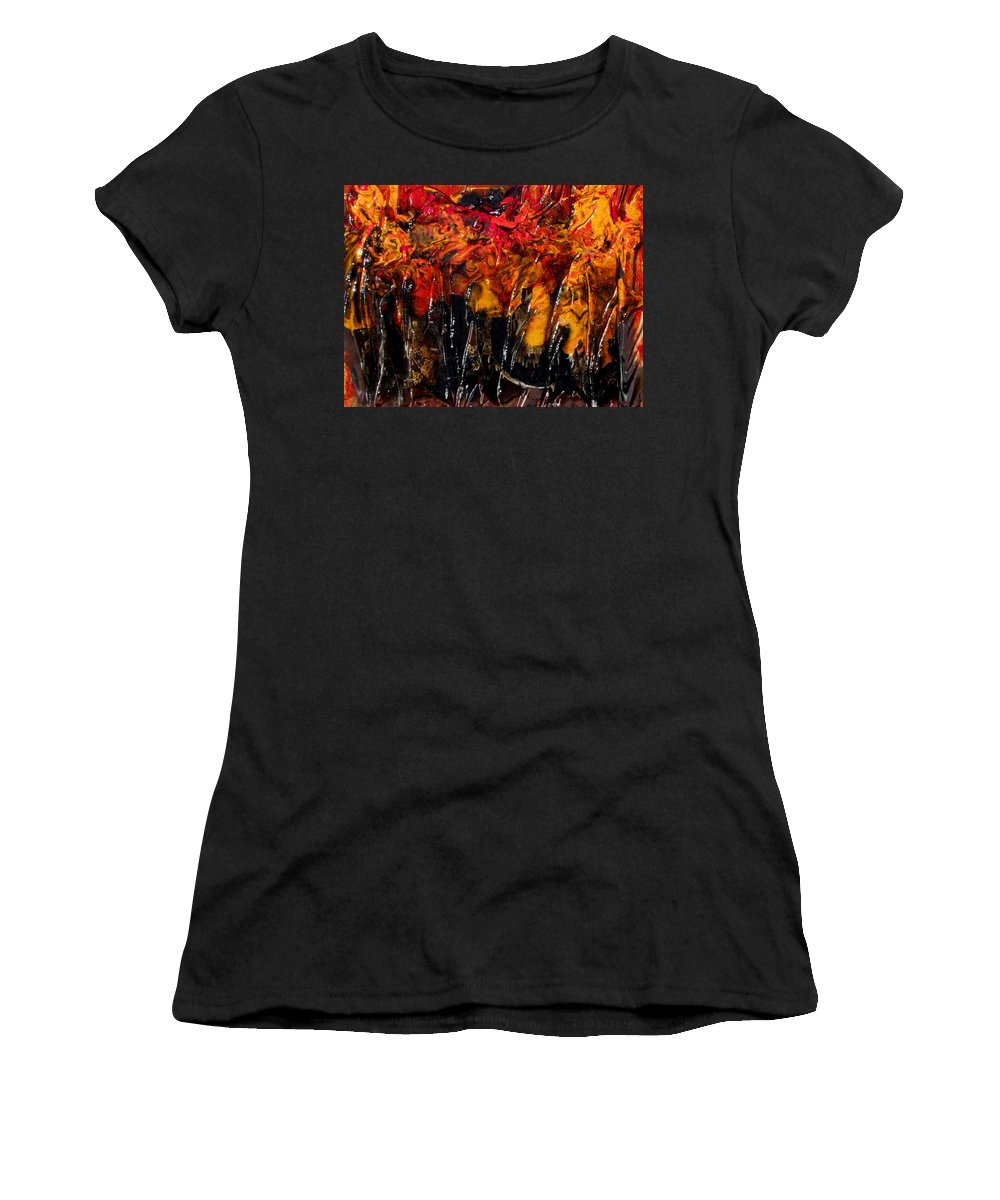 Sculpted Art Women's T-Shirt featuring the mixed media Autumn Trees by Angela Stout