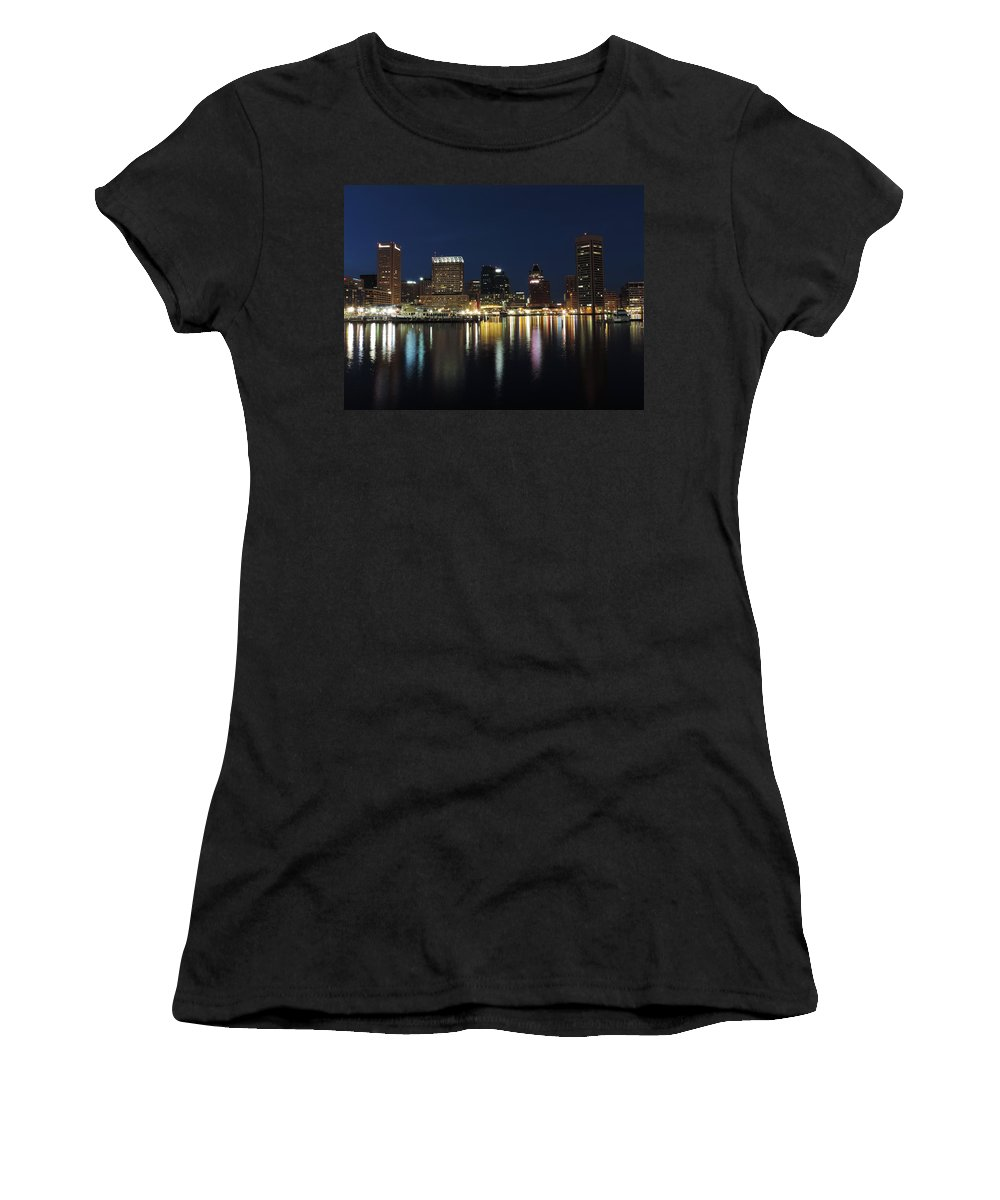 Baltimore Women's T-Shirt featuring the photograph Baltimore Skyline At Dusk On The Inner Harbor by Cityscape Photography