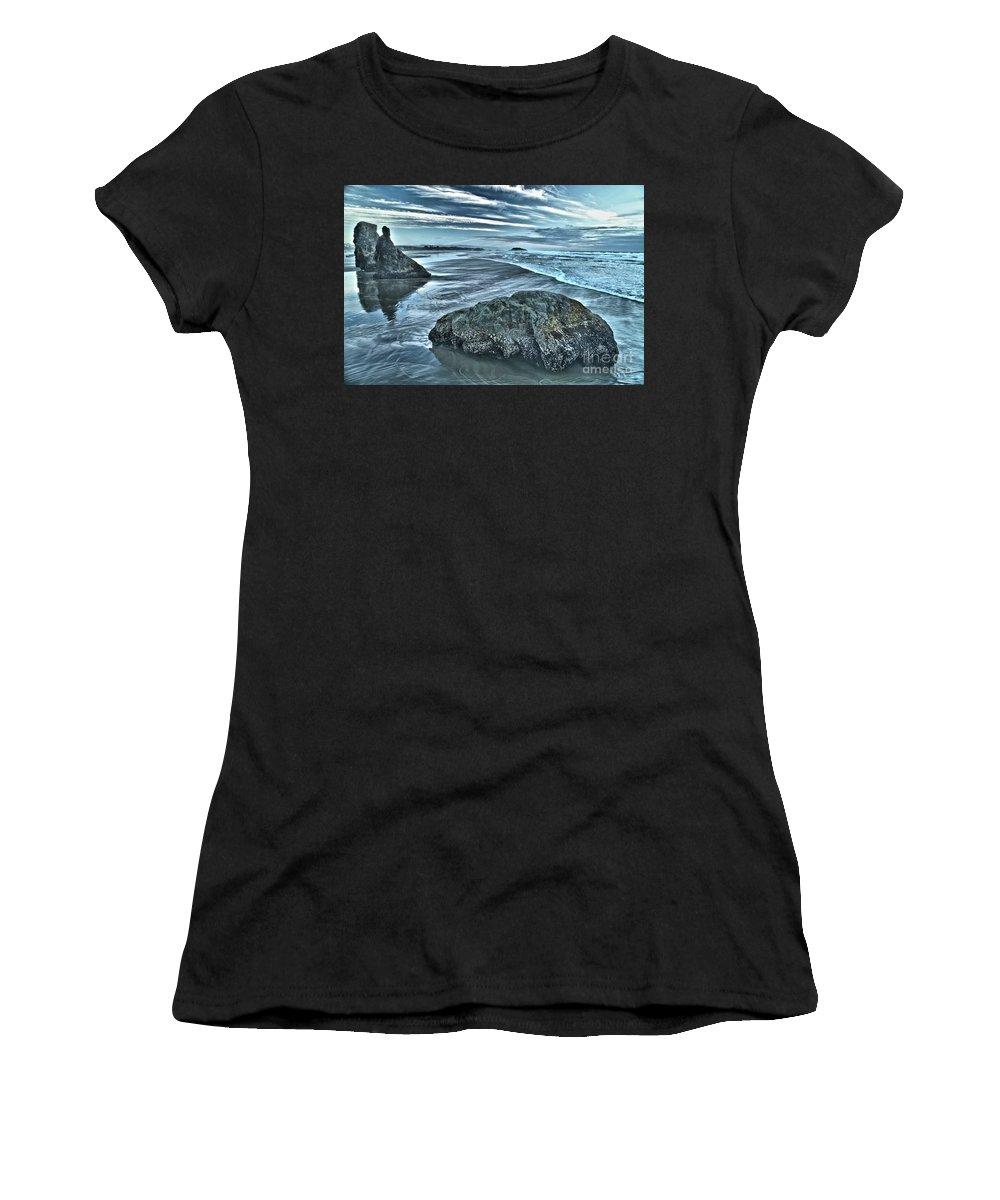 Bandon Beach Women's T-Shirt (Athletic Fit) featuring the photograph Bandon Beach Swirls by Adam Jewell