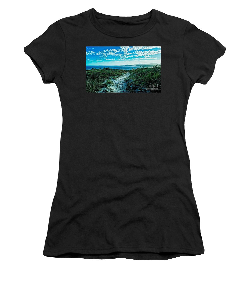 Color Photo Women's T-Shirt (Athletic Fit) featuring the digital art Beach Track by Tim Richards