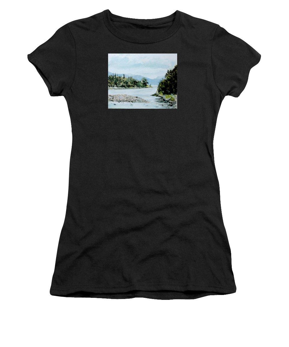 Landscape. Berks Lake Women's T-Shirt featuring the painting Berks Lake by John Warren OAKES