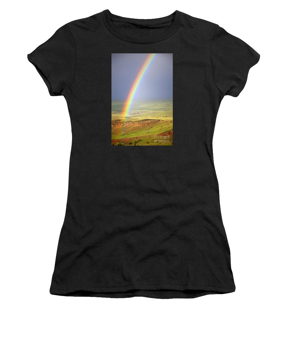 Rainbow Women's T-Shirt (Athletic Fit) featuring the photograph Big Horn Rainbow by John Stephens