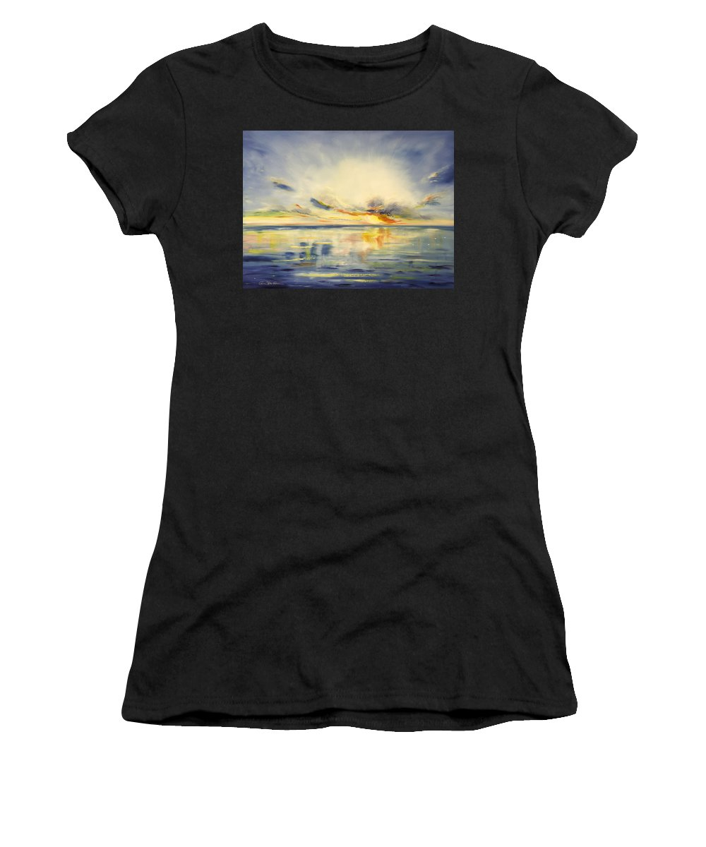 Blue Women's T-Shirt (Athletic Fit) featuring the painting Blue Sunset by Gina De Gorna