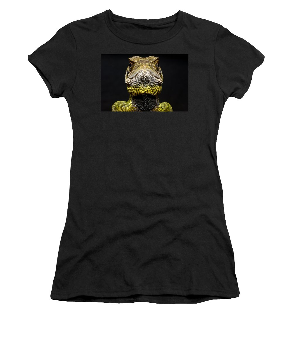 Feb0514 Women's T-Shirt (Athletic Fit) featuring the photograph Bocourts Dwarf Iguana Choco Rainforest by Pete Oxford