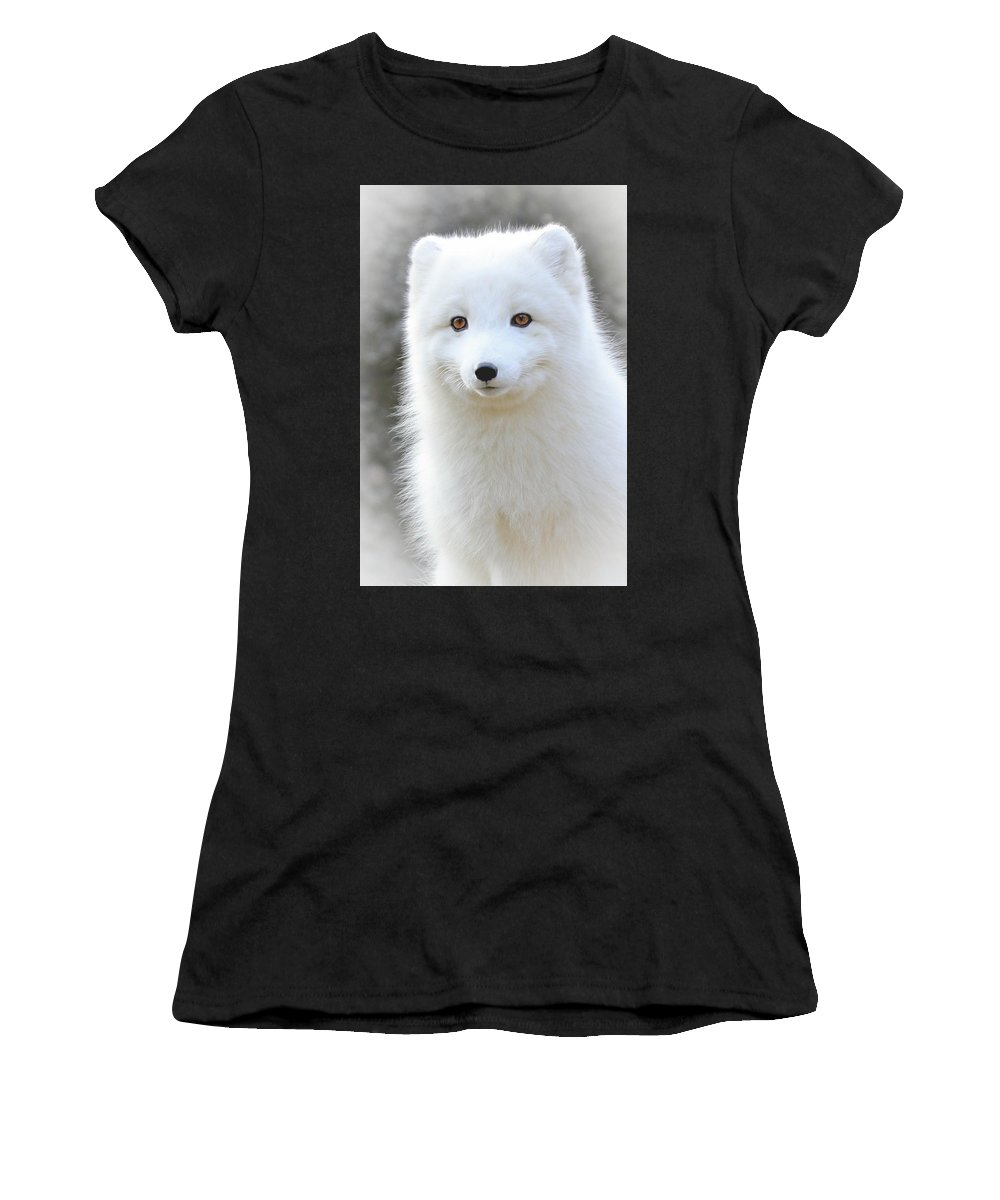 White Fox Women's T-Shirt (Athletic Fit) featuring the photograph Bright Eyes by Athena Mckinzie