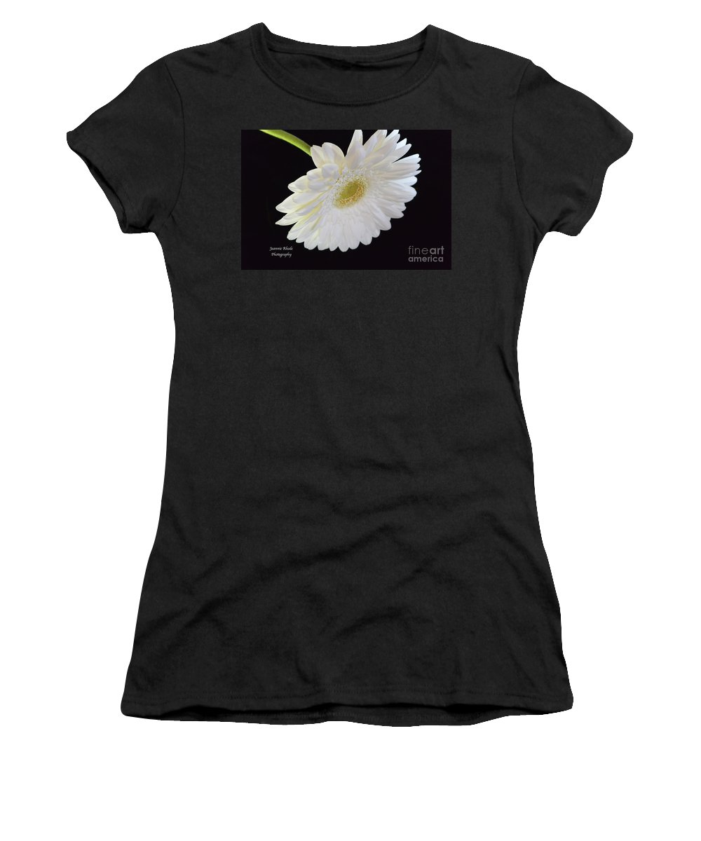 Bright White Gerber Daisy # 2. White Women's T-Shirt (Athletic Fit) featuring the photograph Bright White Gerber Daisy # 2 by Jeannie Rhode