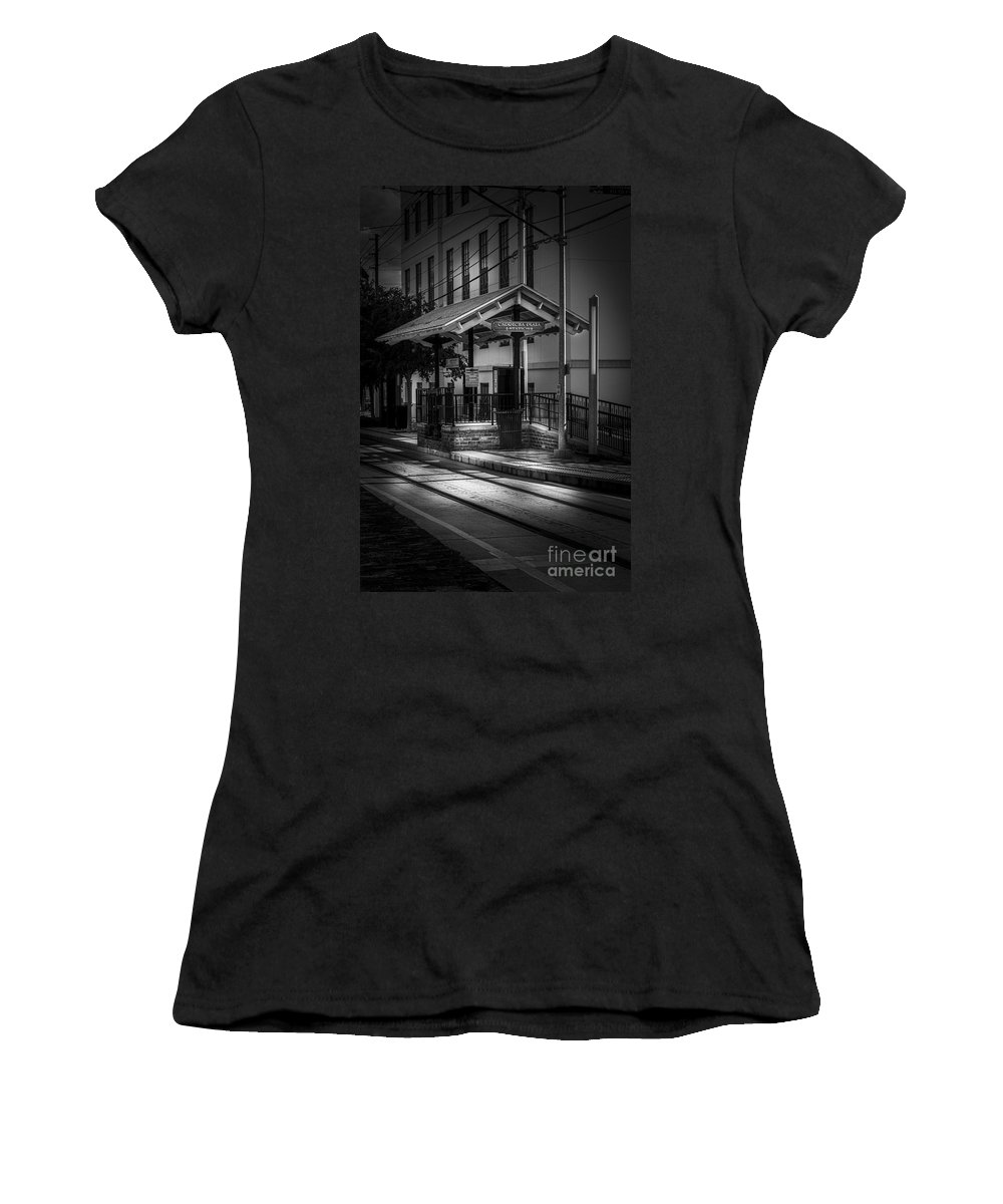 Trolley Station Women's T-Shirt featuring the photograph Cadrecha Plaza Station by Marvin Spates