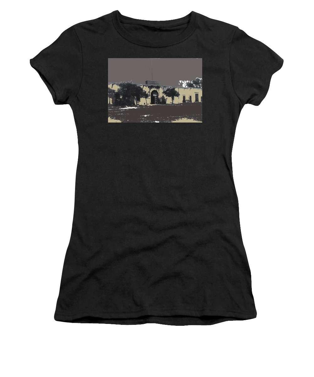 Canutillo Hacienda As Given To Pancho Villa C.1920 Women's T-Shirt (Athletic Fit) featuring the photograph Canutillo Hacienda As Given To Pancho Villa C.1920-2013 by David Lee Guss