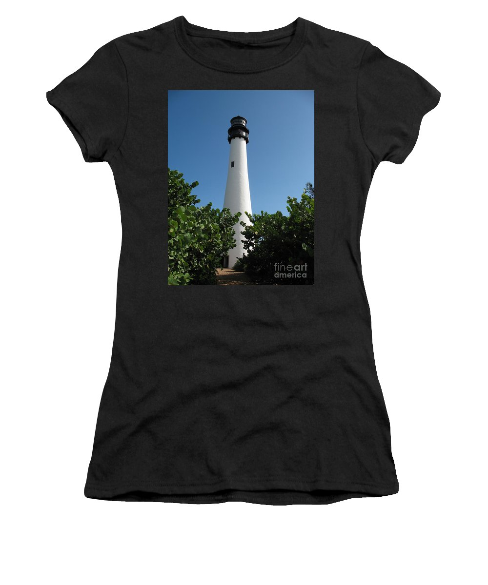 Lighthouse Women's T-Shirt (Athletic Fit) featuring the photograph Cape Florida Light by Christiane Schulze Art And Photography