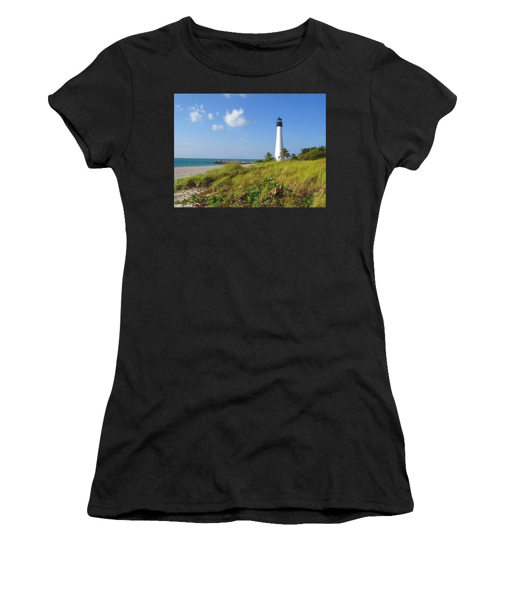 Cape Florida Lighthouse Women's T-Shirt (Athletic Fit) featuring the photograph Cape Florida Lighthouse by Ellen Henneke
