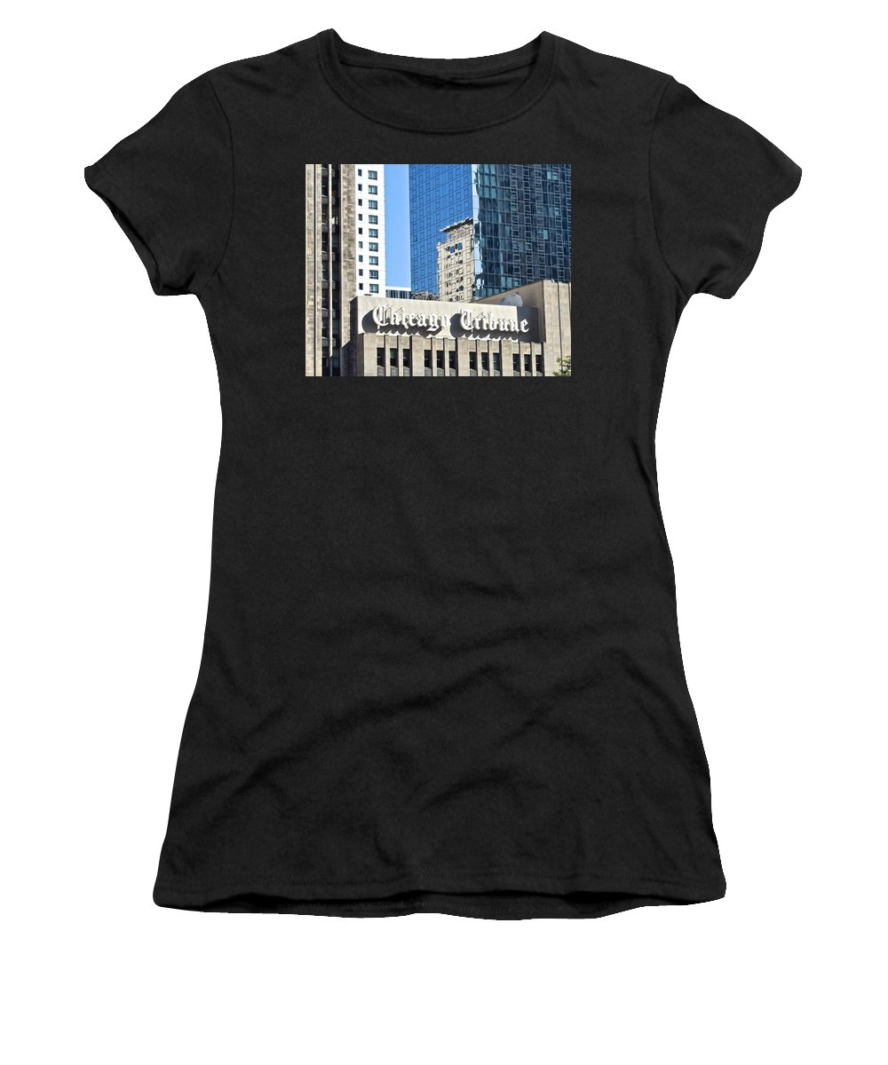 Chicago Women's T-Shirt (Athletic Fit) featuring the photograph Chicago Tribune by Frozen in Time Fine Art Photography