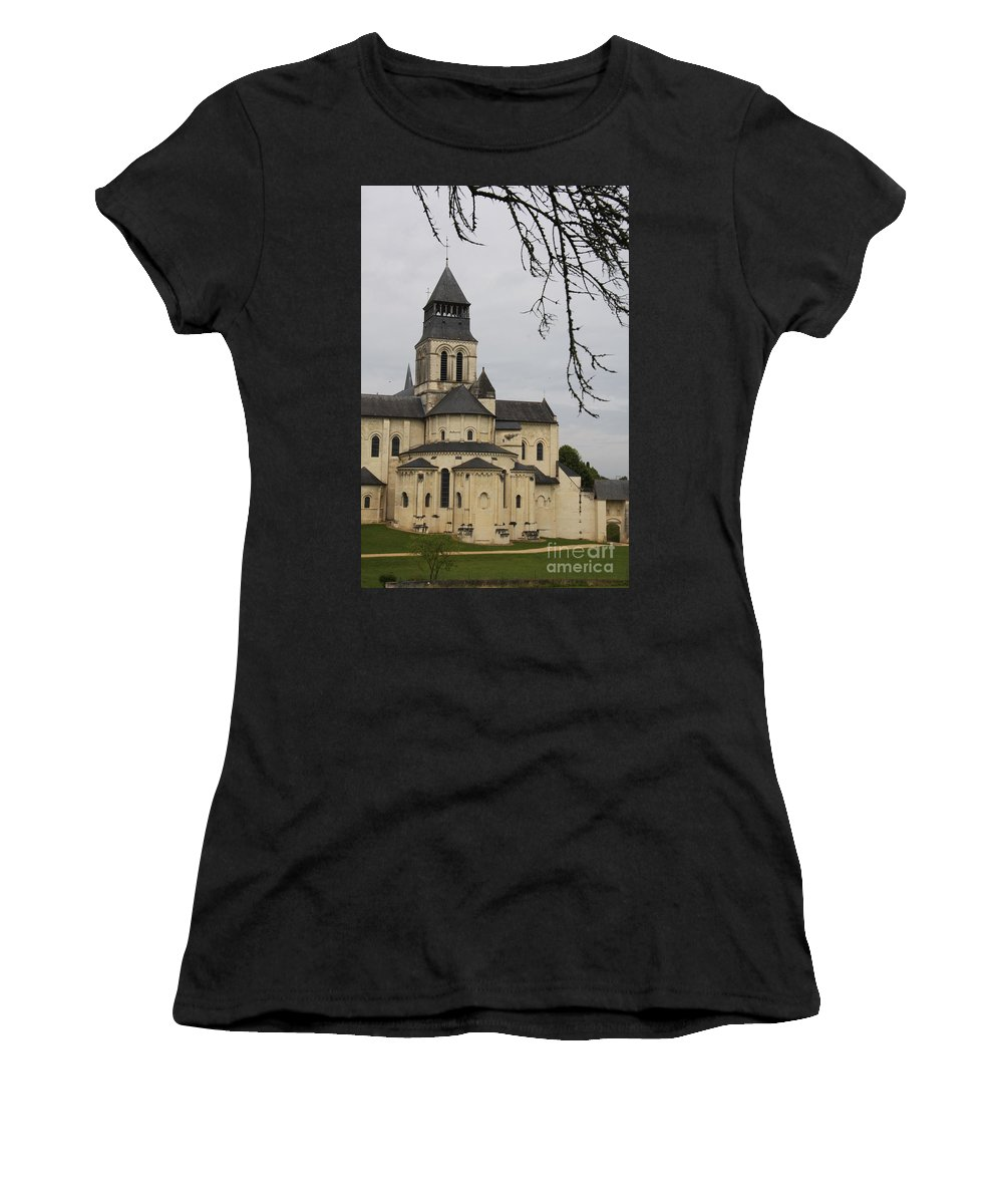 Cloister Women's T-Shirt (Athletic Fit) featuring the photograph Cloister Fontevraud - France by Christiane Schulze Art And Photography