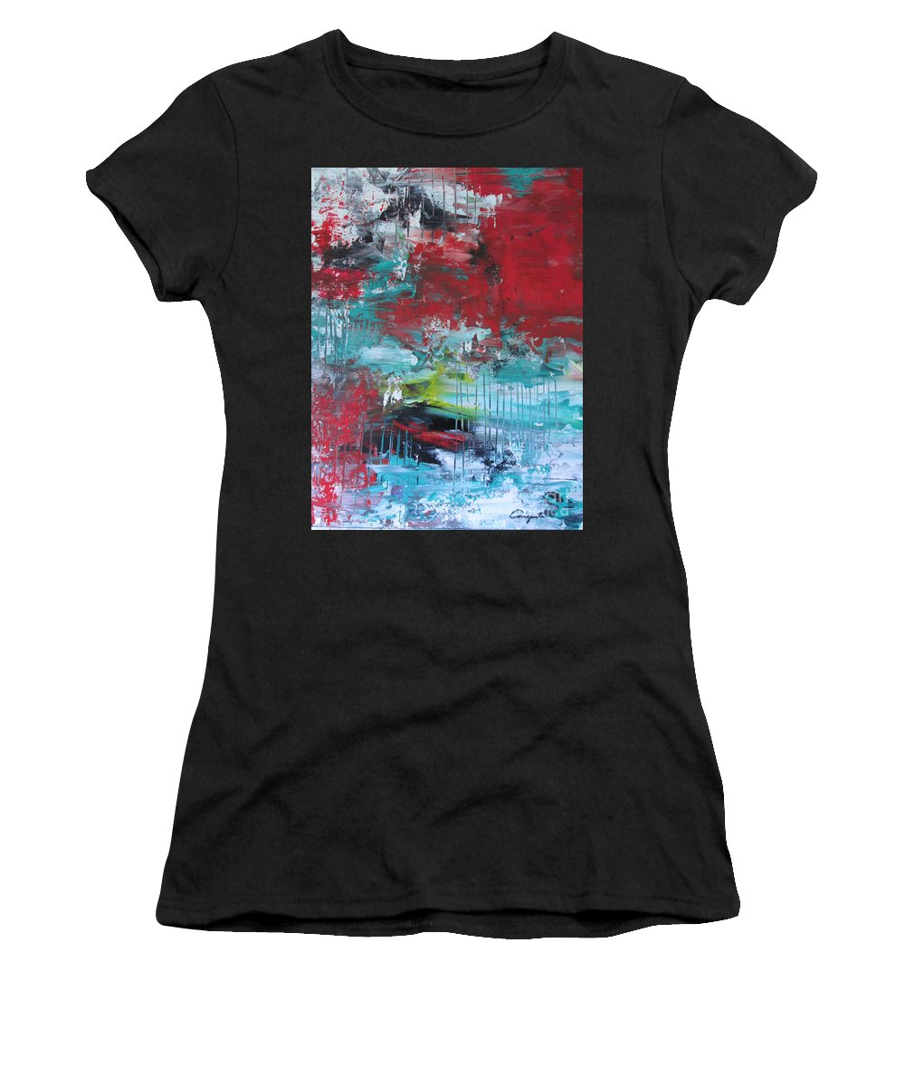 Abstract Women's T-Shirt (Athletic Fit) featuring the painting December by Augusta Lourenco- Dias