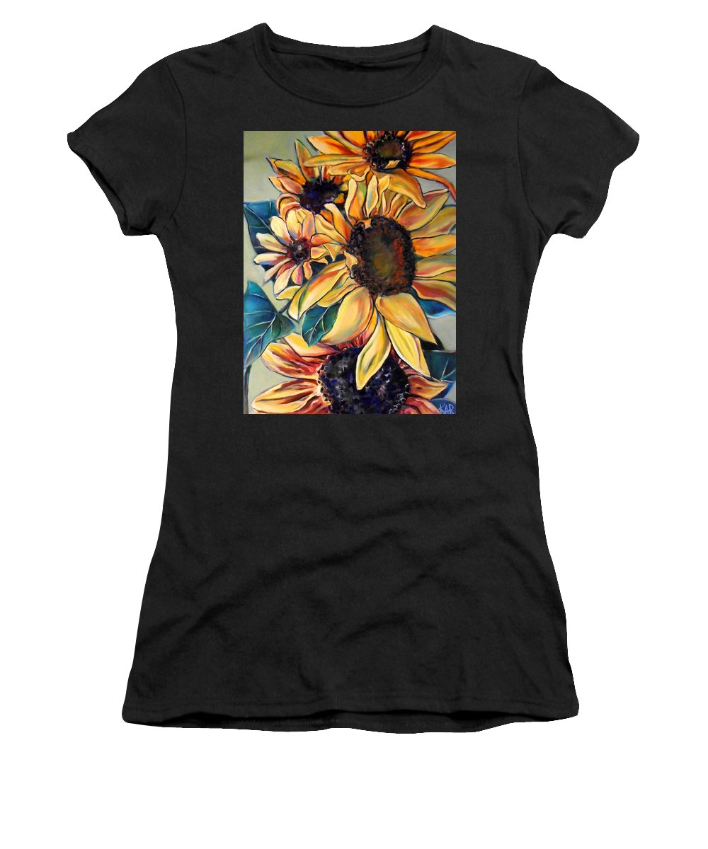 Sunflowers Women's T-Shirt (Athletic Fit) featuring the painting Dooley's Sunflowers by Art by Kar