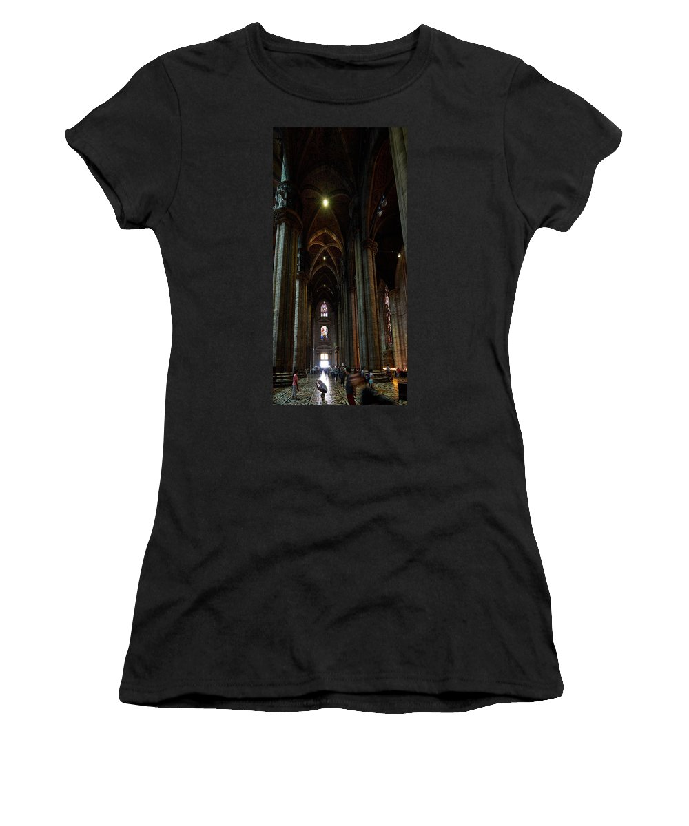 Francacorta Women's T-Shirt featuring the photograph Duomo. Milano Milan by Jouko Lehto