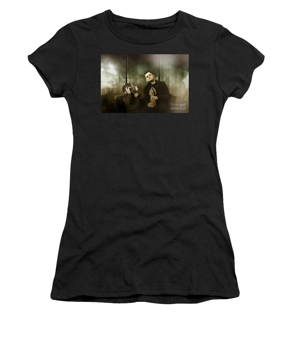 Apocalypse Women's T-Shirt featuring the photograph Father And Son In Gasmask. Nuclear Terror Attack by Jorgo Photography - Wall Art Gallery